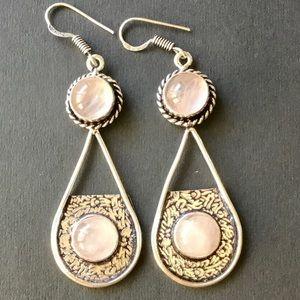 Rose Quartz Gemstone Dangle Drop Earrings